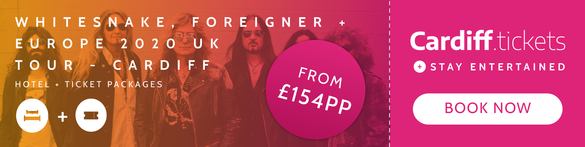 WHITESNAKE, FOREIGNER & EUROPE 2020 UK TOUR- CARDIFF tickets and hotel package